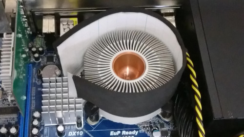 CPUクーラーにスポンジで枠を作